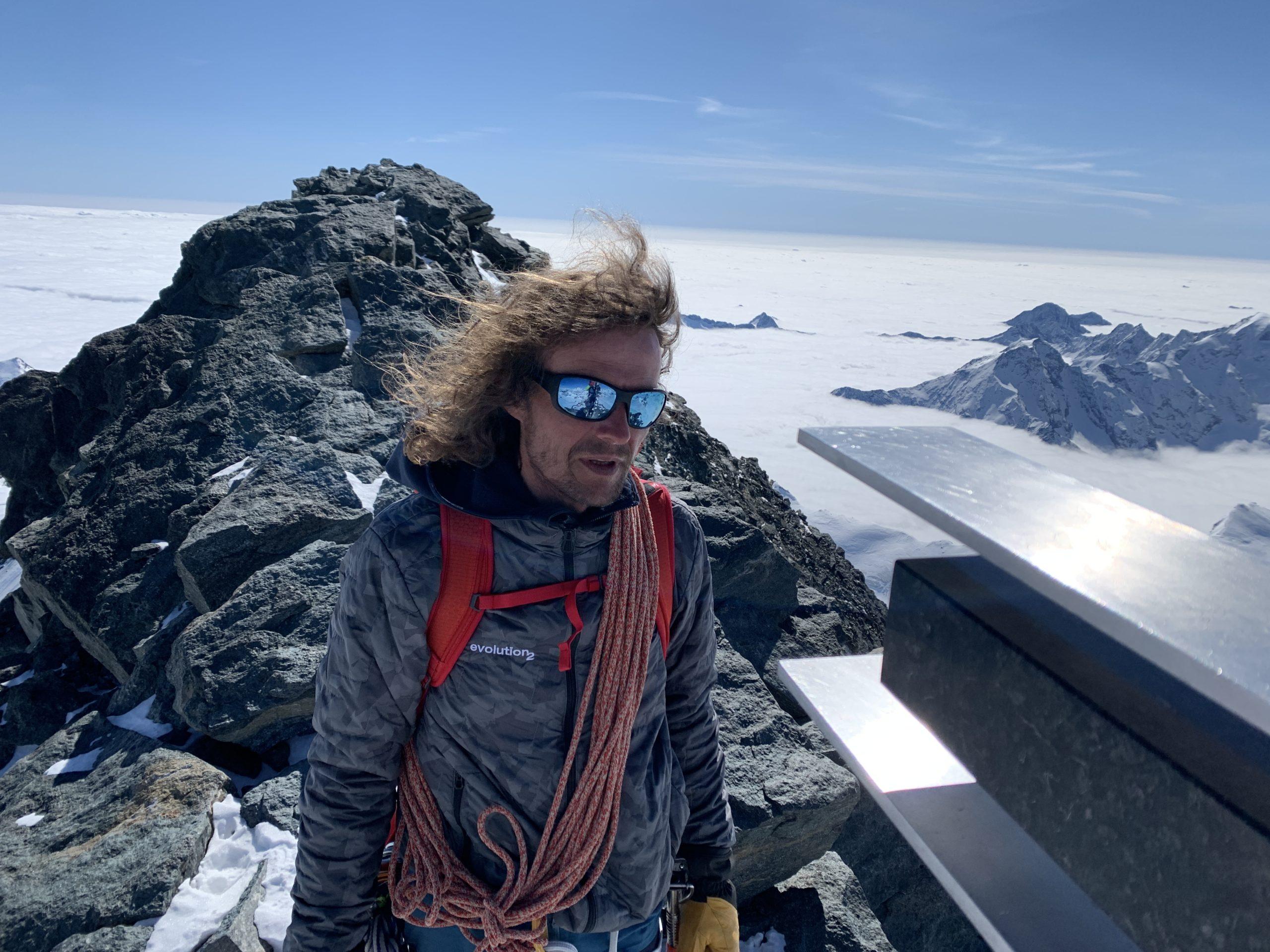 Frédéric Bréhé au sommet du Strahlhorn
